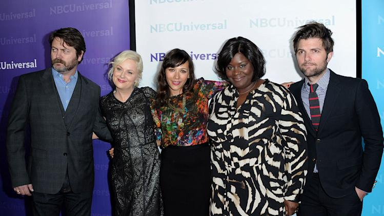 "Nick Offerman, Amy Poehler, Rashida Jones, Retta, and Adam Scott (""Parks and Recreation"") attend the 2012 NBC Universal Winter TCA  All-Star Party at The Athenaeum on January 6, 2012 in Pasadena, California."