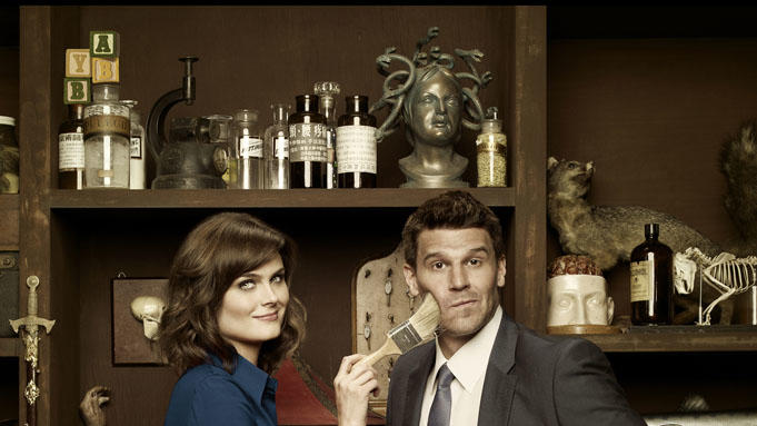 "Emily Deschanel and David Boreanaz star in ""Bones."""