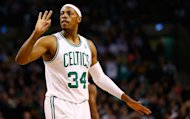 Paul Pierce of the Boston Celtics gestures after being fouled against the Dallas Mavericks on December 12, 2012. Rajon Rondo notched a triple-double and Pierce scored 26 points as the Celtics erased a 15-point half-time deficit to post an 89-81 NBA victory over the Atlanta Hawks on Saturday