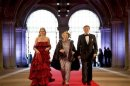 Dutch Crown Prince Willem-Alexander his wife Crown Princess Maxima and Queen Beatrix of the Netherlands arrive at a gala dinner at the Rijksmuseum in Amsterdam
