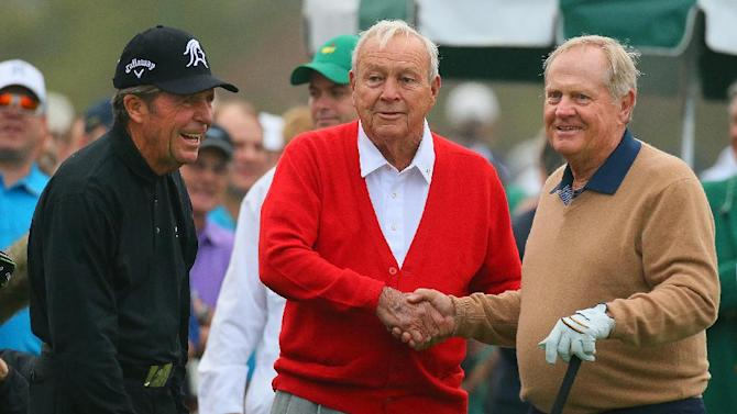 Three of golfs greatest players, Gary Player, left, Arnold Palmer, center, and Jack Nicklaus smile after their ceremonial tee shots at the Masters golf tournament in Augusta, Ga., Thursday, April 11, 2013. (AP Photo/Atlanta Journal-Constitution, Custis Compton)  MARIETTA DAILY OUT; GWINNETT DAILY POST OUT; LOCAL TV OUT; WXIA-TV OUT; WGCL-TV OUT