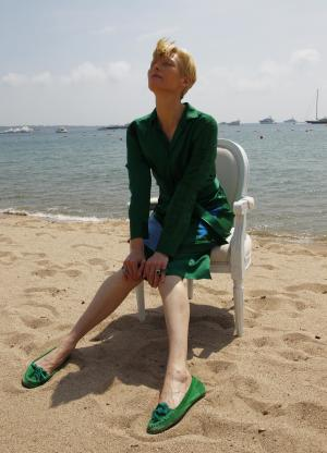 Actress Tilda Swinton poses during a portrait session at the American Pavilion at the 64th international film festival, in Cannes, southern France, Friday, May 13, 2011. (AP Photo/Francois Mori)