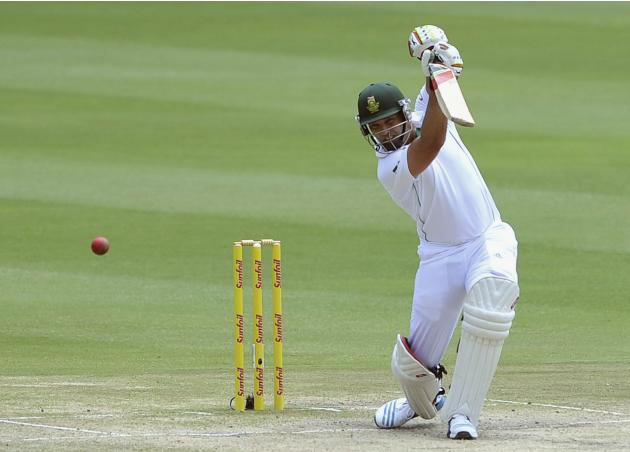 South Africa's Jacques Kallis plays a shot during the final day of their cricket test match against India in Johannesburg