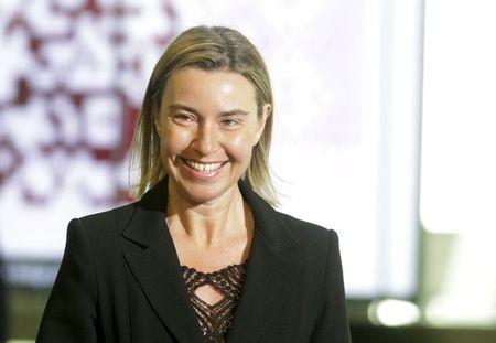 European Union foreign policy chief Mogherini arrives to the Eastern Partnership Summit session in Riga