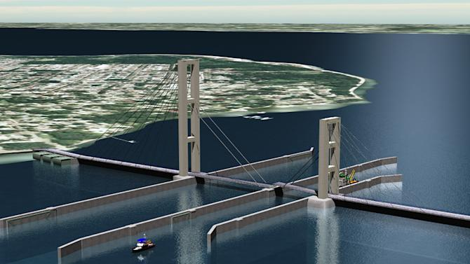 This artist's rendering provided by CDM Smith shows a proposed sea barrier at the mouth of the Arthur Kill waterway between the New York borough of Staten Island and New Jersey, designed by engineer Larry Murphy. The 1,700-foot barrier has locks for passing boats and a walkway for pedestrians. (AP Photo/CDM Smith)