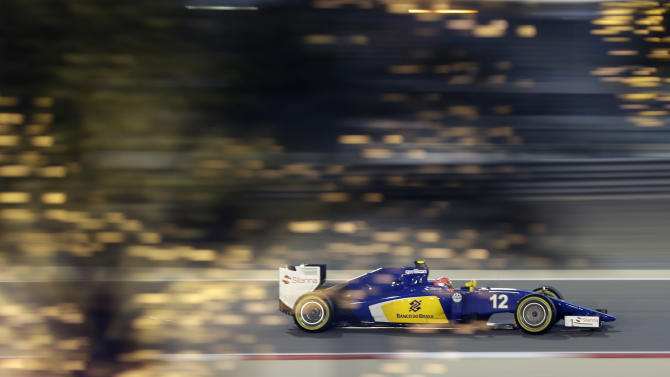 Sauber driver Felipe Nasr of Brazil steers his car during the qualifying session of the Bahrain Formula One Grand Prix at the Formula One Bahrain International Circuit in Sakhir, Bahrain, Saturday, April 18, 2015. The Bahrain Formula One Grand Prix will take place  on Sunday. (AP Photo/Hassan Ammar)