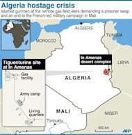Map locating the gas field attacked by self-proclaimed Al-Qaeda gunmen. The Al-Qaeda-linked gunmen, cited by Mauritania&#39;s ANI news agency, said they still held seven foreigners at the site deep in the Sahara near the border with Libya