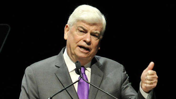 Christopher Dodd, Chairman and CEO of the Motion Picture Association of America, speaks at CinemaCon 2013's State of the Industry address at Caesars Palace on Tuesday, April 16, 2013 in Las Vegas. (Photo by Chris Pizzello/Invision/AP)
