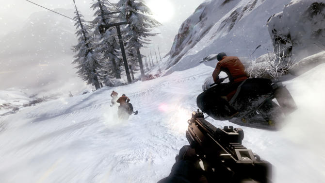 "This undated publicity image from Activision Publishing Inc. shows the snowmobile chase scene from ""On Her Majesty's Secret Service"" in the ""007: Legends"" Bond video game. The ""007: Legends"" video game features a storyline that combines six James Bond movies, including the new Bond film, ""Skyfall."" (AP Photo/Activision Publishing, Inc.)"