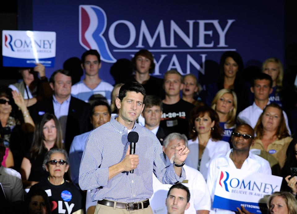 Republican vice presidential candidate Rep. Paul Ryan R-Wis., speaks during a campaign event at Palo Verde High School on Tuesday, Aug. 14, 2012 in Las Vegas. (AP Photo/David Becker)