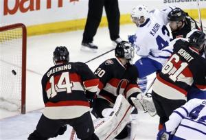 Kadri's hat trick sends Leafs past Senators 4-0
