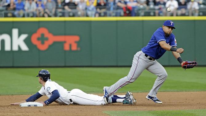 Seattle Mariners' Brad Miller safely steals second base as Texas Rangers second baseman Rougned Odor, right, can't hang on to the ball in the third inning of a baseball game, Saturday, April 18, 2015, in Seattle. (AP Photo/Ted S. Warren)