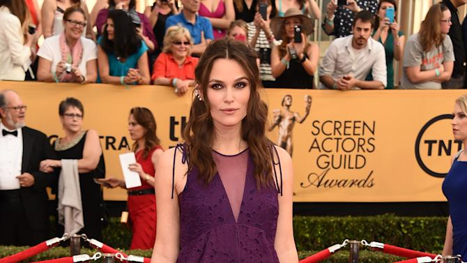 Keira Knightley arrives at the 21st annual Screen Actors Guild Awards at the Shrine Auditorium on Sunday, Jan. 25, 2015, in Los Angeles. (Photo by Jordan Strauss/Invision/AP)