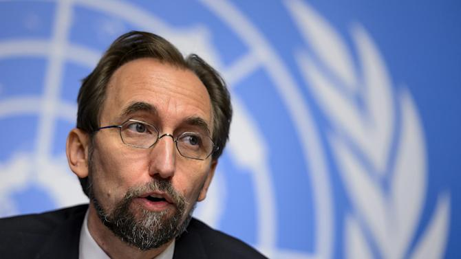 High Commissioner of the United Nations for Human Rights Zeid Ra'ad al-Hussein attends a press conference on October 16, 2014 in Geneva
