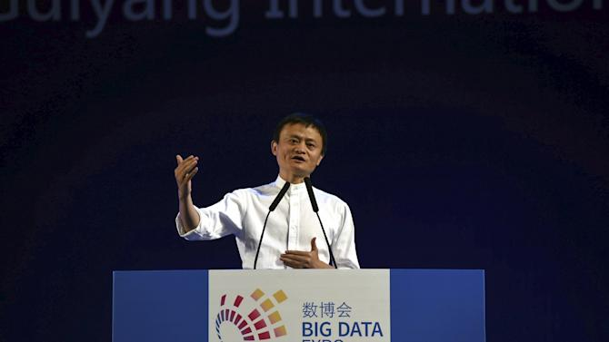 Alibaba Founder and Chairman Jack Ma gestures as he speaks at the Big Data Expo in Guiyang