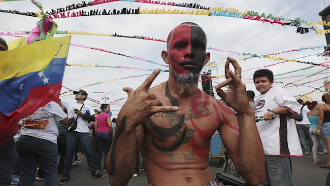 """A man takes part in celebrations for the 36th anniversary of the """"Repliegue"""" (Withdrawal) in Managua, Nicaragua"""