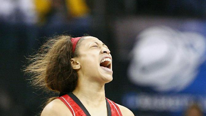 Louisville guard Antonita Slaughter (4) reacts to a play against Baylor during the second half of a regional semifinal game in the women's NCAA college basketball tournament in Oklahoma City, Sunday, March 31, 2013.  Louisville won 82-81.  (AP Photo/Alonzo Adams)