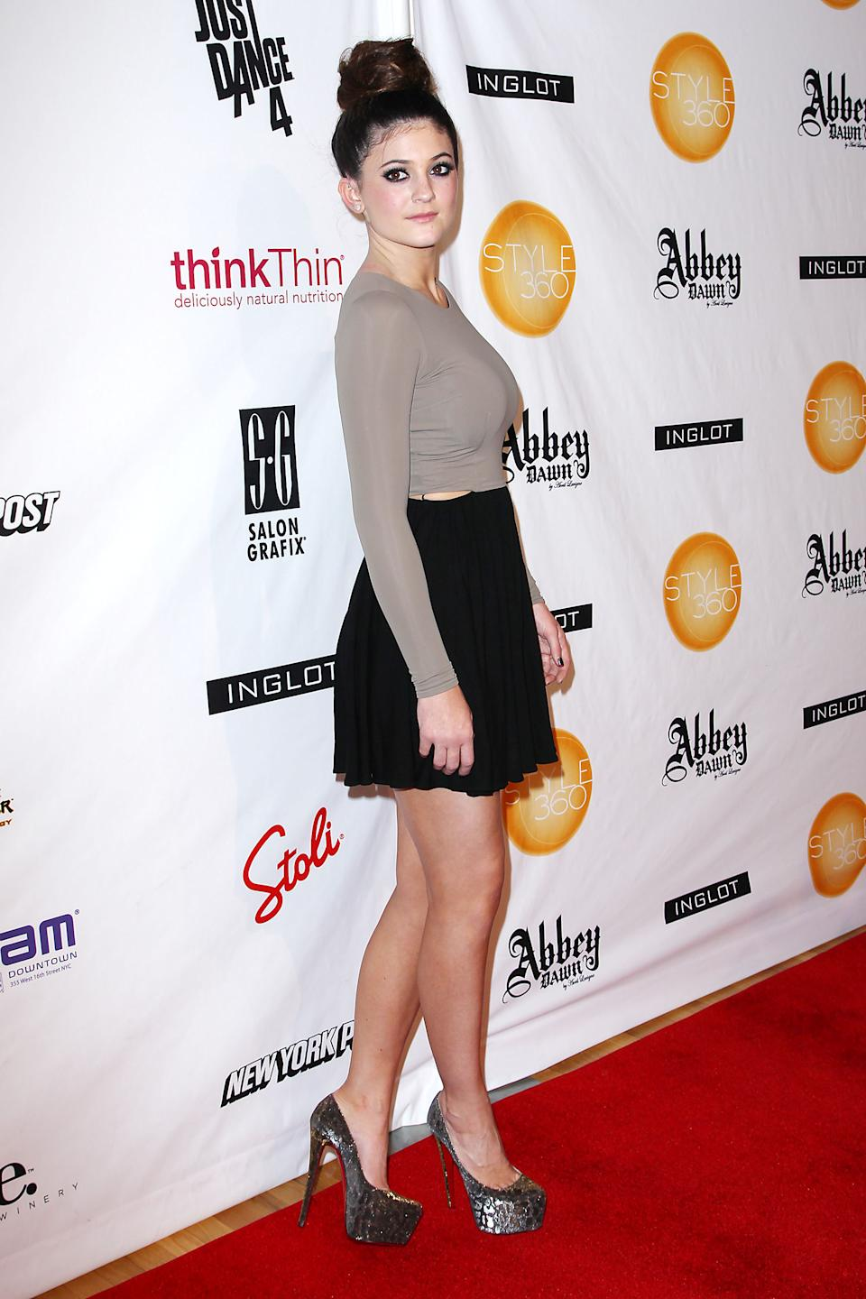 This image released by Starpix shows Kylie Jenner at the showing of the Abbey Dawn by Avril Lavigne Spring 2013 collection, Monday, Sept. 10, 2012, during Fashion Week in New York. (AP Photo/Starpix, Kristina Bumphrey)