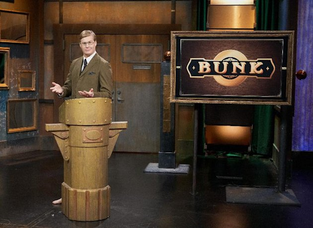 "This undated image released by IFC-TV shows Kurt Braunohler, host of the improv series ""Bunk."" Braunohler, an improv performer and stand-up comic, presides over a trio of contestants who, by trade, are also up-and-coming comedians. The show airs Friday, June 8, at 10:30 p.m. on IFC-TV. (AP Photo/IFC-TV, J. Ryan Roberts)"