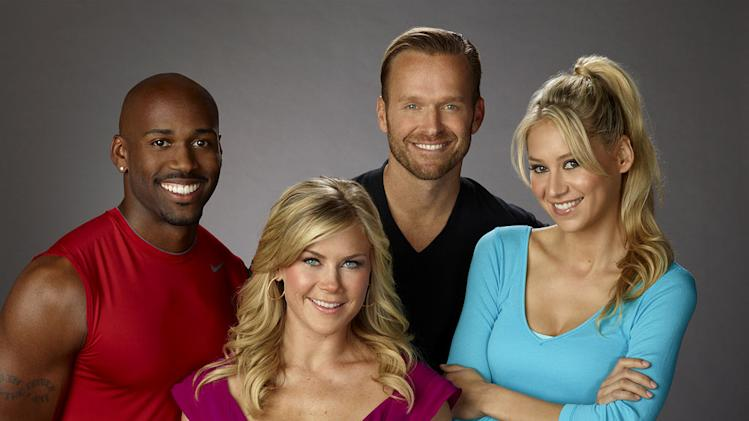 "Dolvett Quince, Alison Sweeney, Bob Harper, and Anna Kournikova on the twelfth season of ""The Biggest Loser."""