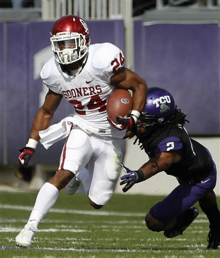 No. 12 Oklahoma 24-17 win at TCU for Big 12 share