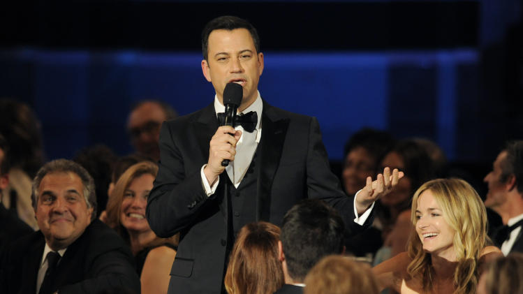 Comedian Jimmy Kimmel delivers a testimonial to honoree Mel Brooks during the American Film Institute's 41st Lifetime Achievement Award Gala at the Dolby Theatre on Thursday, June 6, 2013 in Los Angeles. (Photo by Chris Pizello/Invision/AP)