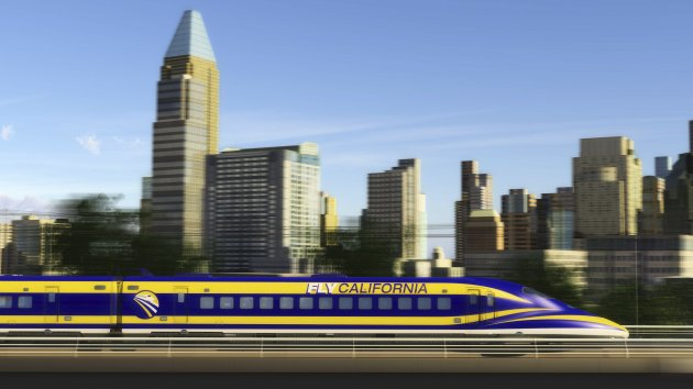 An artist's rendition courtesy of the California High-Speed Rail Authority shows a high speed train passing through Sacramento, California. The California state Assembly approved an $8 billion high-speed rail financing plan that likely will face a tougher vote in the Senate over the system's projected $68 billion cost and concerns about its management. REUTERS/California High-Speed Rail Authority/Handout (UNITED STATES - Tags: TRANSPORT POLITICS BUSINESS) FOR EDITORIAL USE ONLY. NOT FOR SALE FOR MARKETING OR ADVERTISING CAMPAIGNS. THIS IMAGE HAS BEEN SUPPLIED BY A THIRD PARTY. IT IS DISTRIBUTED, EXACTLY AS RECEIVED BY REUTERS, AS A SERVICE TO CLIENTS