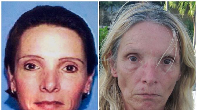 This combination of Associated Press file photos shows, left, an undated driver's license photo distributed by police in 2002 of Brenda Heist, and right, an April 26, 20013 photo of Heist taken by the Monroe County, Fla. Sheriff's Office and released by the Lititz Borough, Pa. Police. Lititz Borough Police in central Pennsylvania say Heist, who disappeared after dropping off her children for school 11 years ago has been located in Florida. (AP Photo)