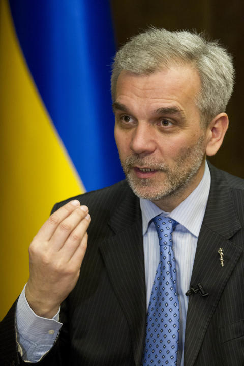 In this photo taken Thursday, March 6, 2014, Ukrainian health minister Oleh Musiy speaks during an interview with The Associated Press at the Health Ministry in Kiev, Ukraine. Musiy, who spent more th