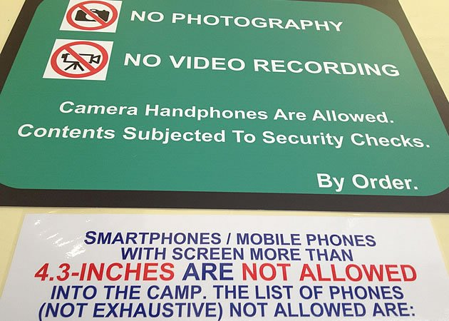 Smartphones, with or without cameras, with screens larger than 4.3 inches are still not allowed into camps. (Screengrab from HardwareZone forum)