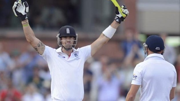 England's Kevin Pietersen scores a century against Australia at Old Trafford