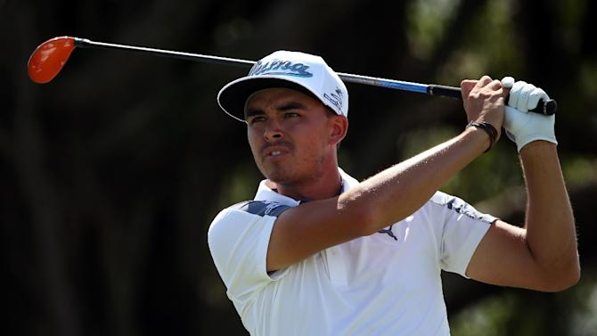 Rickie Fowler of the US hits a tee shot on the fifth hole during the first round of the World Golf Championships-Cadillac Championship, at Trump National Doral Blue Monster Course in Florida, on March 5, 2015