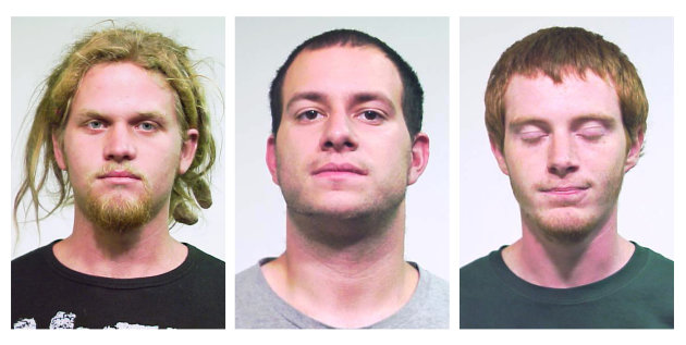 FILE - This combo made from undated file photos provided by the Chicago Police Department shows, from left: Brent Vincent Betterly, 24, of Oakland Park, Fla., Jared Chase, 24, of Keene, N.H., and Bria