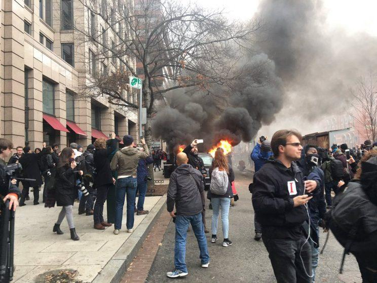 More than 200 people arrested as inauguration protests turn violent