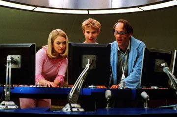Sophia Myles as Lady Penelope, Brady Corbet as Alan Tracy and Anthony Edwards as Brains in Universal's Thunderbirds