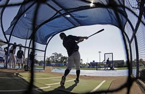 New York Yankees' Brett Gardner takes batting practice before a spring training baseball game against the Toronto Blue Jays in Dunedin, Fla., Thursday, March 14, 2013. (AP Photo/Kathy Willens)