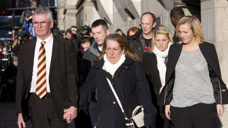 The family of Lee Rigby leave the Old Bailey in central London