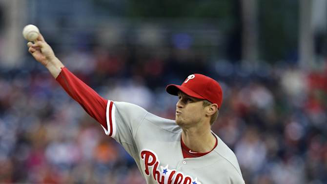 Philadelphia Phillies starting pitcher Kyle Kendrick throws during the first inning of a baseball game against the Washington Nationals at Nationals Park, Friday, May 24, 2013, in Washington. (AP Photo/Alex Brandon)