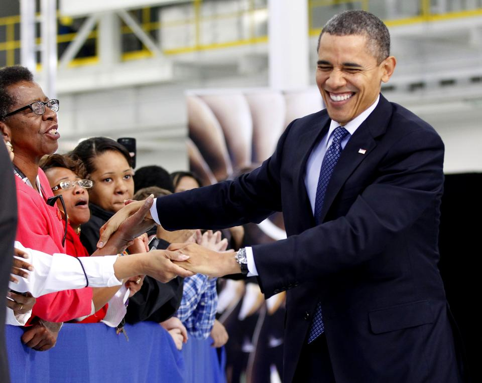 President Barack Obama greet guests at the Rolls-Royce Crosspointe jet engine disc manufacturing facility, Friday, March, 9, 2012, in Prince George, Va. Crosspoint facility manufactures precision-engineered engine disc and other components for aircrafts. (AP Photo/Pablo Martinez Monsivais)
