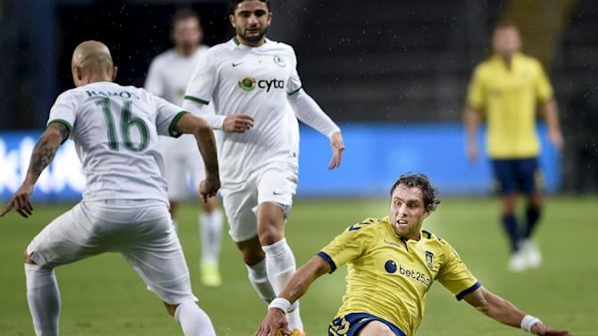 Brondby's Elmander looks on next to Omonia Nicosia's Cristovao during their UEFA Europa League third qualifying round first leg soccer match in Brondby