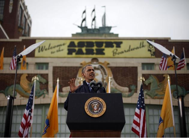 President Barack Obama speaks outside the Asbury Park Convention Hall ,Tuesday, May 28, 2013 in Asbury Park, New Jersey. Obama traveled to New Jersey to join Gov. Chris Christie to inspect and tour th