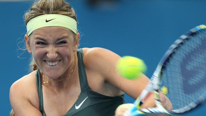 Victoria Azarenka of Belarus plays a shot during her quarter final match against Ksenia Pervak of Kazakhstan during the Brisbane International tennis tournament in Brisbane, Australia, Thursday, Jan 3, 2013.  (AP Photo/Tertius Pickard)