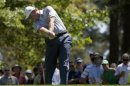 Ernie Els of South Africa hits his tee shot on the fourth hole during third round play in the 2013 Masters golf tournament in Augusta