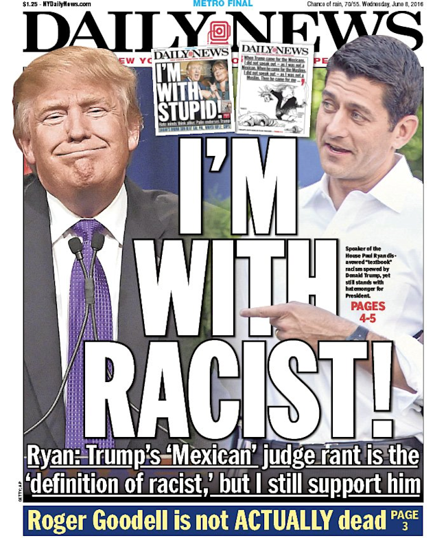 New York Daily News Cover: 'I'm With Racist!': Brutal New York Daily News Cover Mocks