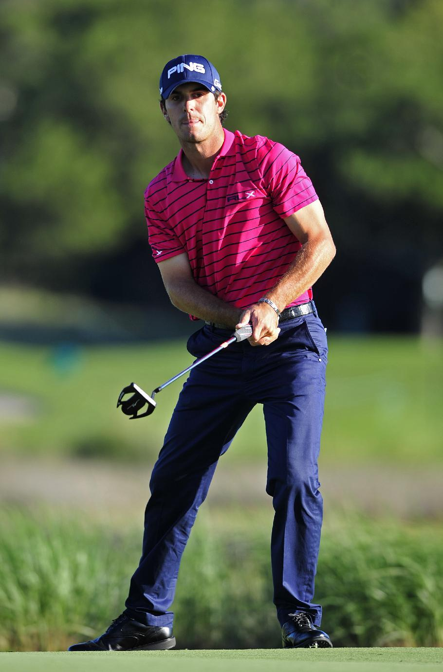 Billy Horschel watches putt on the 13th green during the second round of the McGladrey Classic golf tournament at the Sea Island Golf Club on St. Simons Island, Ga., Friday, Oct. 14, 2011. (AP Photo/Stephen Morton)