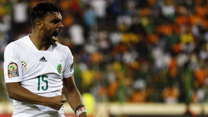 Algeria's El Arabi Soudani celebrates his goal during their quarter-final soccer match of the 2015 African Cup of Nations against Ivory Coast in Malabo