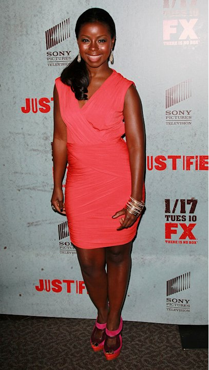 "Erica Tazel attends the Season 3 premiere of FX's ""Justified"" at the Directors Guild on January 10, 2012 in Los Angeles, California."