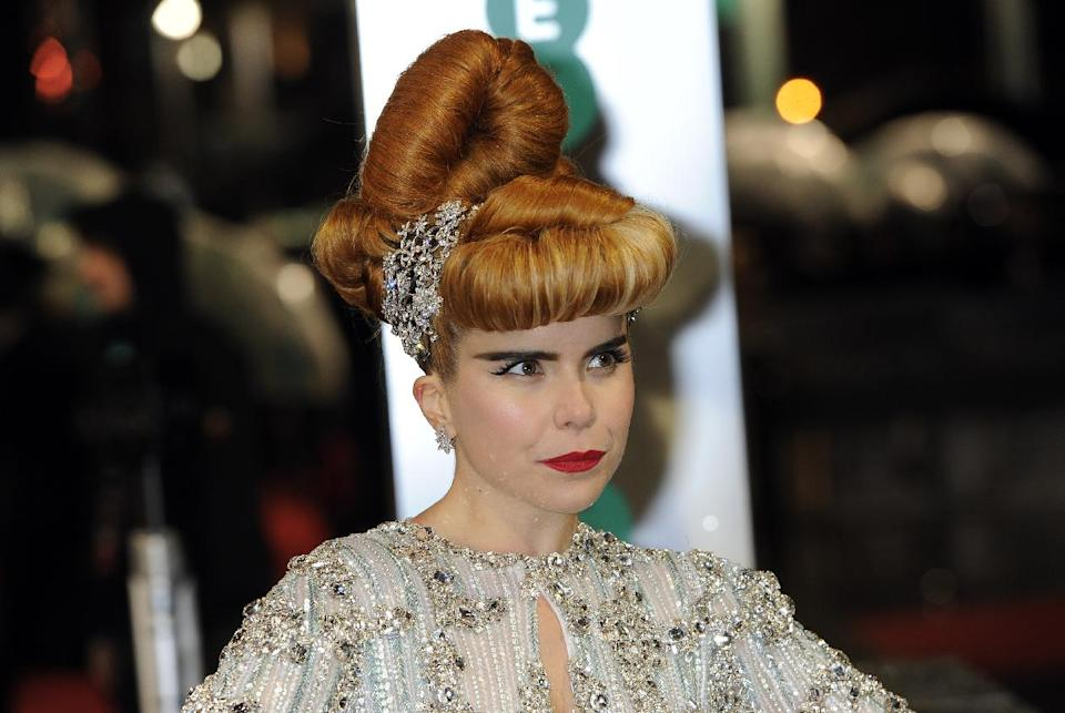 British singer-songwriter Paloma Faith arrives for the BAFTA Film Awards at the Royal Opera House on Sunday, Feb. 10, 2013, in London. (Photo by Jonathan Short/Invision/AP)