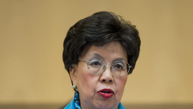 China's Margaret Chan, Director-General of the World Health Organization, WHO, delivers a speech during the 66th World Health Assembly at the European headquarters of the United Nations in Geneva, Switzerland, Monday, May 20, 2013. (AP Photo/Keystone, Jean-Christophe Bott)