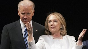 ap Clinton ac 130402 wblog Hillary Clinton Shares Stage With Joe Biden in One of First Public Events Since Leaving State